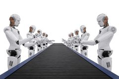 Robot assemble line. 3d rendering android robot assembly line with conveyor line Royalty Free Stock Photo