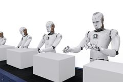 Robot with boxes. 3d rendering android robot with boxes on conveyor line Royalty Free Stock Photo