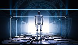 Robot in tunnel. 3d rendering android robot with metallic floor in tunnel stock illustration