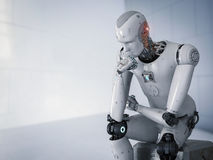 Robot sit down and thinking. 3d rendering android robot sit down and thinking Stock Image