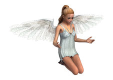 3D Rendering Angel on White. 3D rendering of a beautiful angel girl isolated on white background Stock Photography