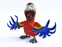 3D rendering of an angry cartoon parrot. Royalty Free Stock Photos