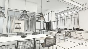 Modern kitchen project wireframe in black and white