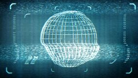Animated distorted monitor screen with globe in sci fi style. Loop-able. 3d rendering