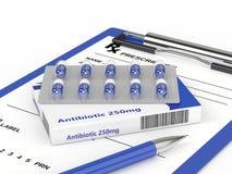 3d rendering of antibiotic pills in blister pack with prescripti Stock Photo