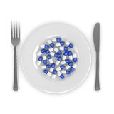 3d rendering of antibiotic pills on plate isolated over white Stock Photos