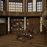 3D Rendering Antique Library royalty free illustration