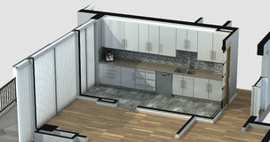 3D Rendering of an apartment kitchen Stock Photo