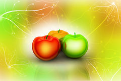 3d rendering apples. In attractive color background Royalty Free Stock Photos