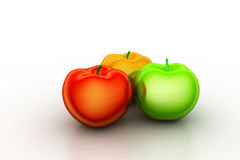 3d rendering apples. In white color background Royalty Free Stock Images