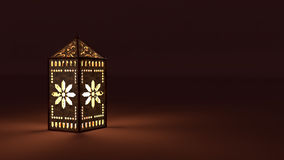 3d rendering of an Arabian lantern with light Royalty Free Stock Images