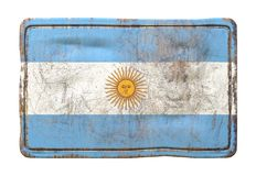 Old Argentina flag. 3d rendering of an Argentina flag over a rusty metallic plate. Isolated on white background Stock Photo