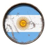 Old Argentina flag. 3d rendering of an Argentina flag over a rusty metallic plate. Isolated on white background Stock Photography