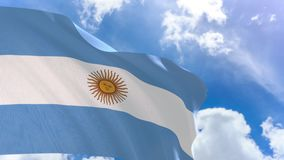 3D rendering of Argentina flag waving on blue sky background with Alpha channel stock video footage