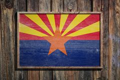 Wooden Arizona flag. 3d rendering of an Arizona State USA flag on a wooden frame and a wood wall Stock Images