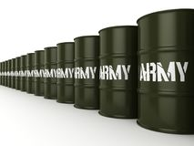 3D rendering army barrels. 3D rendering several army khaki barrels with the inscription royalty free illustration