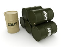 3D rendering army barrels Stock Photography
