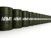 3D rendering army barrels Royalty Free Stock Photography