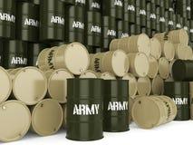 3D rendering army barrels Stock Photo