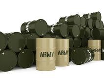 3D rendering army barrels Royalty Free Stock Photo