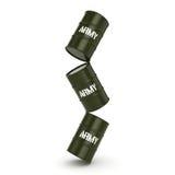 3D rendering army barrels Stock Photos
