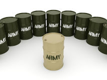 3D rendering army barrels. 3D rendering several army khaki barrels with the inscription vector illustration