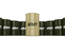 3D rendering army barrels. 3D rendering several army khaki barrels with the inscription stock illustration