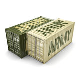 3D rendering army containers. 3D rendering ship khaki containers labeled Army royalty free illustration