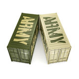 3D rendering army containers Stock Photo