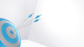 3d rendering arrows and bullseye Royalty Free Stock Photo