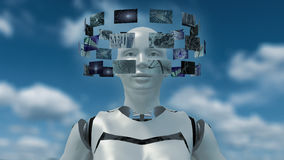 3D rendering of an artificial robot with futuristic screens. 3d rendering of a futuristic robot woman with hoovering virtual monitor screens around her head stock illustration