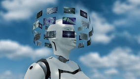 3D rendering of an artificial woman with futuristic virtual monitors. 3d rendering of a futuristic robot woman with hoovering virtual monitor screens around her Royalty Free Stock Images