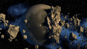 3D Rendering of asteroids. Royalty Free Stock Image