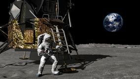 3D rendering. Astronaut descends the stairs of the Apollo spacecraft. CG Animation. Elements of this image furnished by NASA. 3D rendering. Astronaut walking on vector illustration