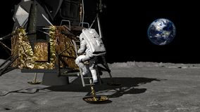 3D rendering. Astronaut descends the stairs of the Apollo spacecraft. CG Animation. Elements of this image furnished by NASA. 3D rendering. Astronaut walking on royalty free illustration