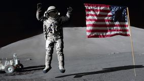 3D rendering. Astronaut jumping on the moon and saluting the American flag. CG Animation. Elements of this image furnished by NASA.  vector illustration
