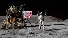 3D rendering. Astronaut jumping on the moon and saluting the American flag. CG Animation. Elements of this image furnished by NASA.  stock illustration