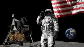 3D rendering. Astronaut saluting the American flag. CG Animation. Elements of this image furnished by NASA.  royalty free illustration