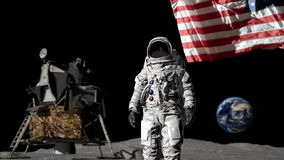 3D rendering. Astronaut saluting the American flag. CG Animation. Elements of this image furnished by NASA.  stock illustration