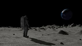 3D rendering. Astronaut walking on the moon and admiring the beautiful Earth. CG Animation. Elements of this image furnished by. NASA vector illustration