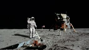 3D rendering. Astronaut walking on the moon. CG Animation. Elements of this image furnished by NASA.  vector illustration