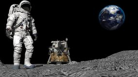 3D rendering. Astronaut walking on the moon. CG Animation. Elements of this image furnished by NASA.  stock illustration