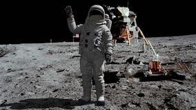 3D rendering. Astronaut walking on the moon and waving his hand. CG Animation. Elements of this image furnished by NASA.  royalty free illustration
