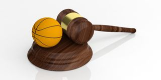 3d rendering auction gavel and a basket ball. On white background Stock Photo