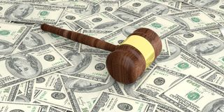 3d rendering auction gavel on100 dollars banknotes. Background Stock Photography