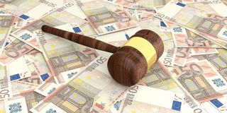 3d rendering auction gavel on 50 euros banknotes Royalty Free Stock Photography