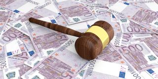 3d rendering auction gavel on 500 euros banknotes. Background Stock Photography