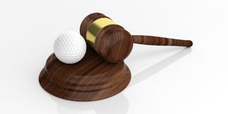 3d rendering auction gavel and a golf ball. On white background Stock Photo