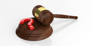3d rendering auction gavel and a question mark Stock Photography