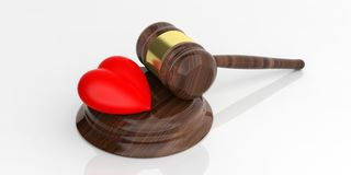 3d rendering auction gavel and a red heart. On white background Royalty Free Stock Photography